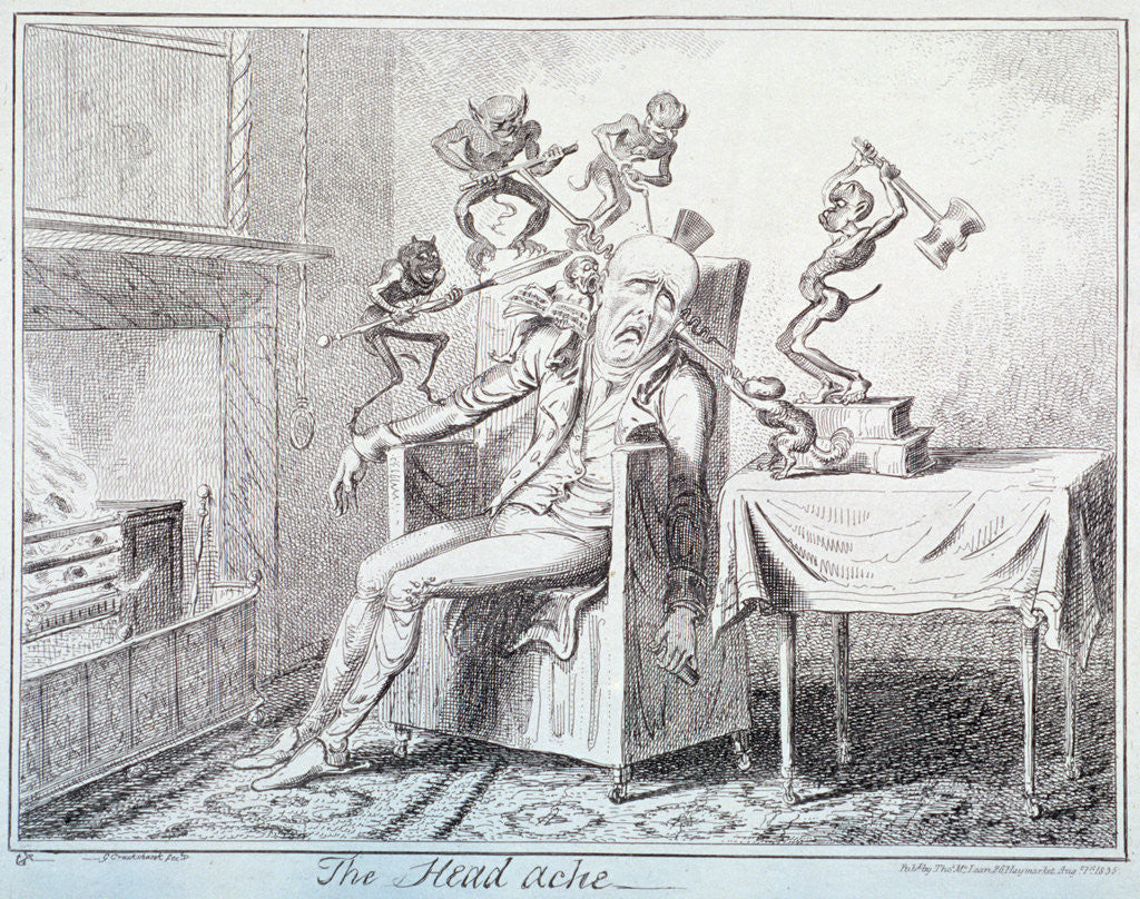 Detail of The head ache by George Cruikshank