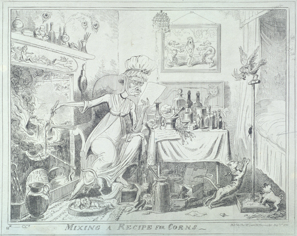 Detail of Mixing a recipe for corns by George Cruikshank