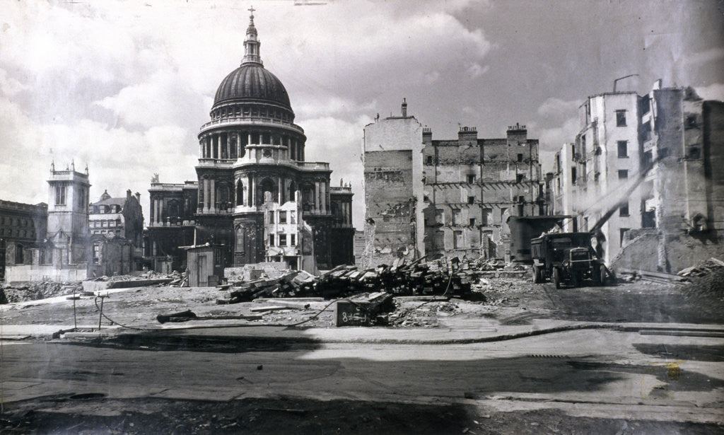 Detail of View of east end of St Paul's showing air raid damage in the vicinity, London by Anonymous