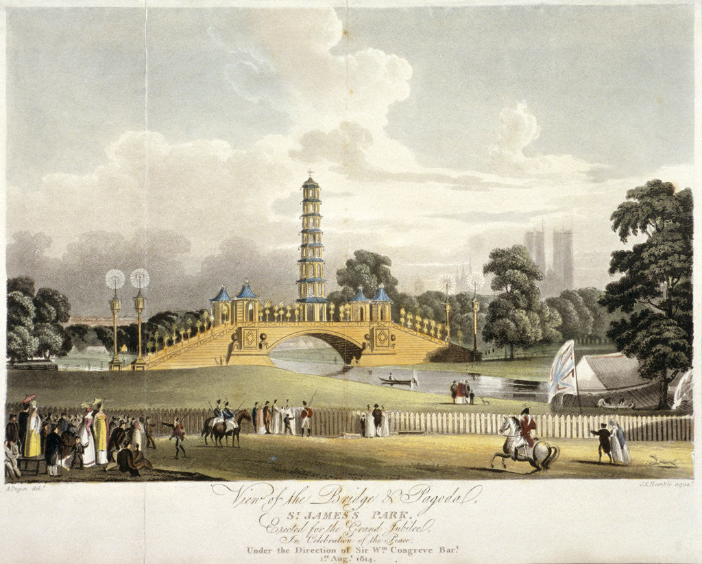 Detail of View of the Chinese bridge and pagoda in St James's Park, London by JR Hamble