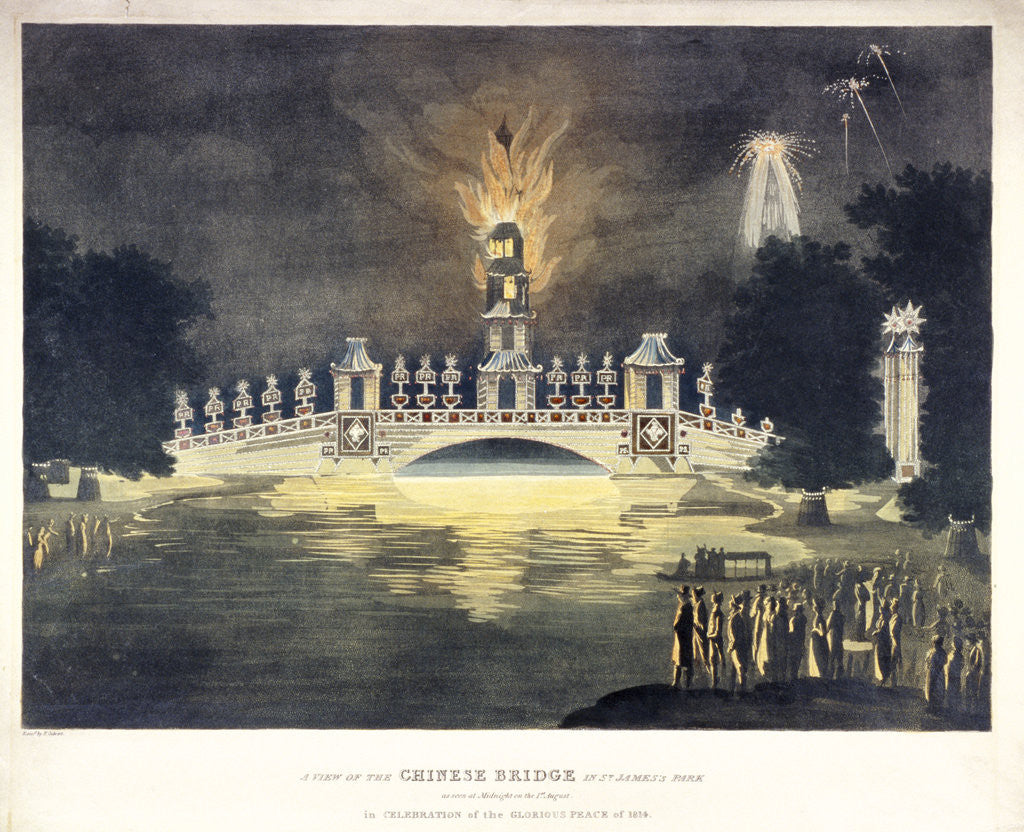 ...Chinese Bridge in St James's Park..., in celebration of the glorious peace of 1814 by Frederick Calvert