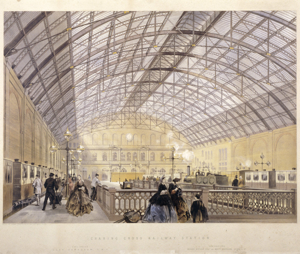 Detail of Interior of Charing Cross Station showing trains and the iron roof, London by Kell Brothers