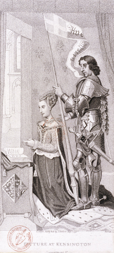 Detail of View of royalty kneeling accompanied by an armoured knight by A Birrell