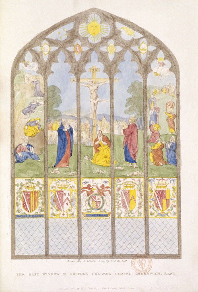 The East window of Norfolk College Chapel, Greenwich, London by William P Sherlock