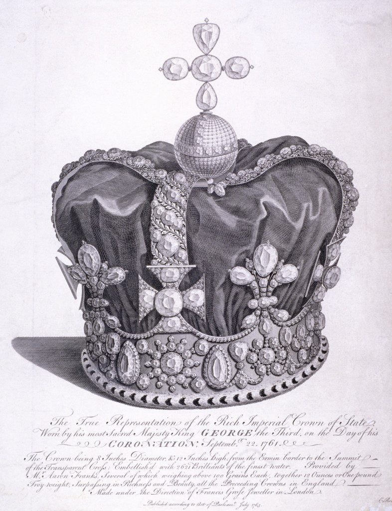 Detail of Imperial crown of state worn by King George III on his coronation by Anonymous