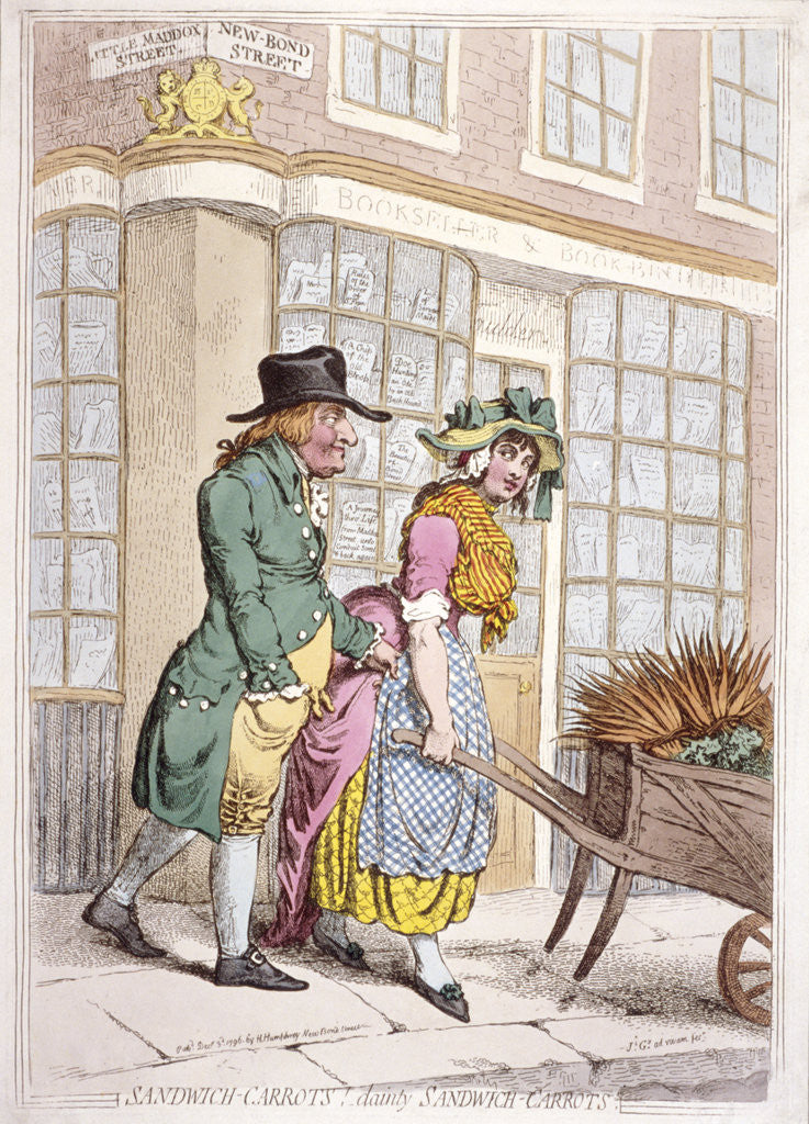 Detail of A leering man making advances to a girl, New Bond Street, Westminster, London by James Gillray