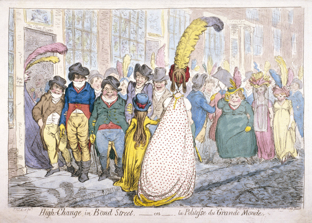 Detail of Five fashionably dressed men advance along Old Bond Street, Westminster, London by James Gillray