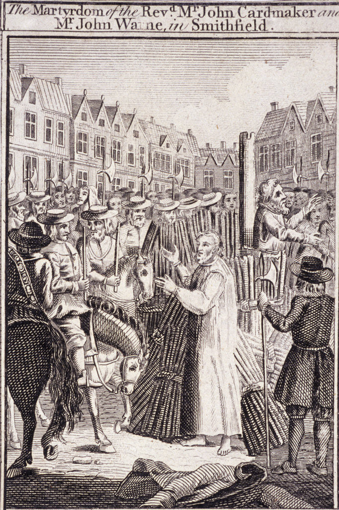 The execution of John Cardmaker and John Warne at Smithfield, 1555 by