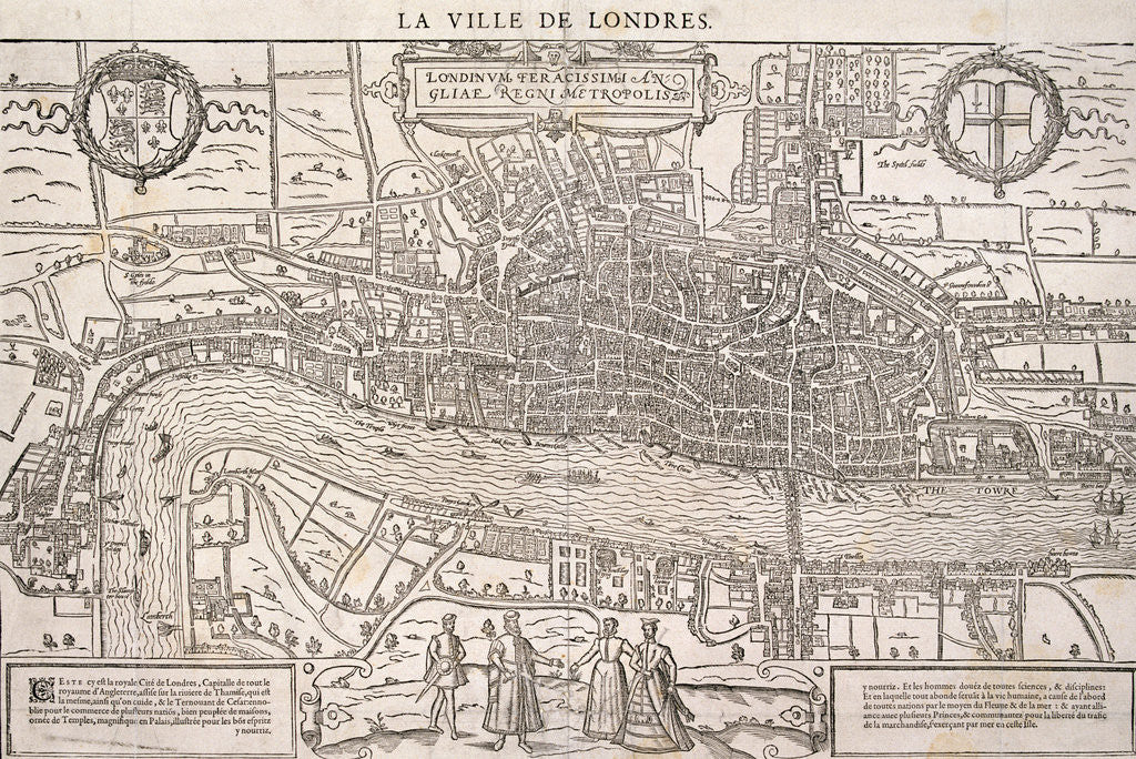 Detail of Map of the City of London and City of Westminster with four figures in the foreground by Anonymous
