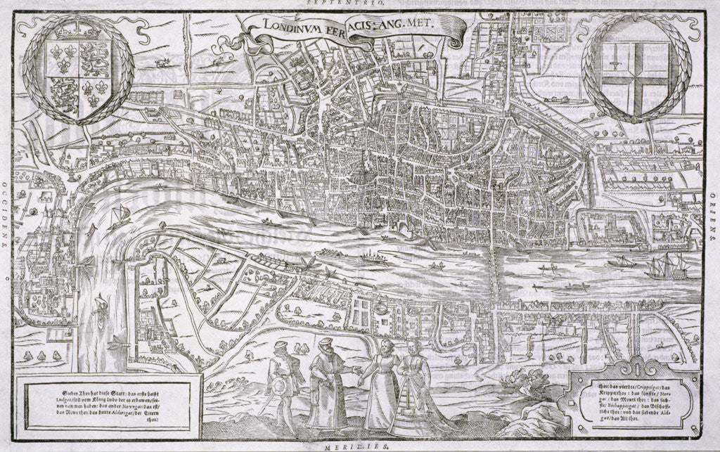 Map of the City of London and City of Westminster with four figures in the foreground by