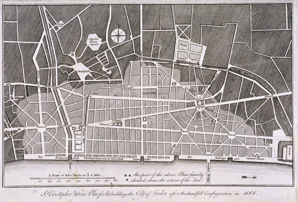 Detail of Proposed plan for the rebuilding of the City of London after the Great Fire in 1666 by Anonymous