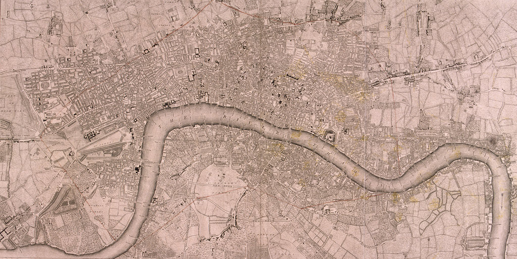 Detail of Map of the London showing Civil War fortifications by Isaac Basire
