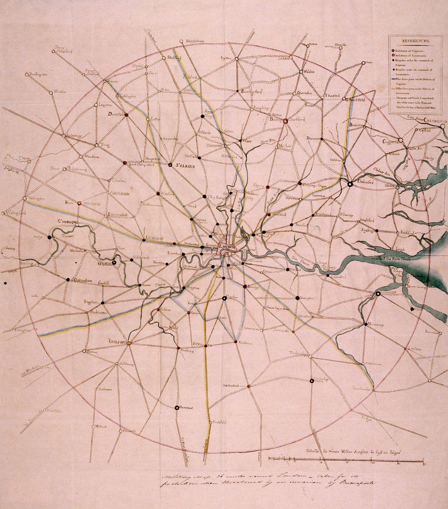 Detail of Military map of a thirty six mile area around London by