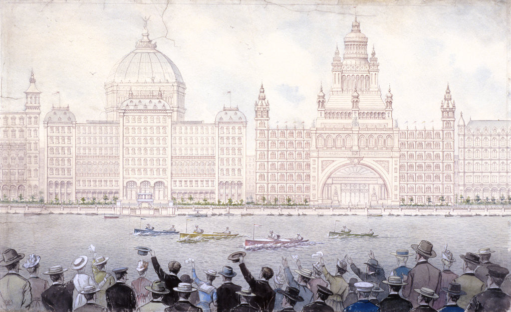 Detail of Boat race on the River Thames for the August bank holiday, London by Anonymous