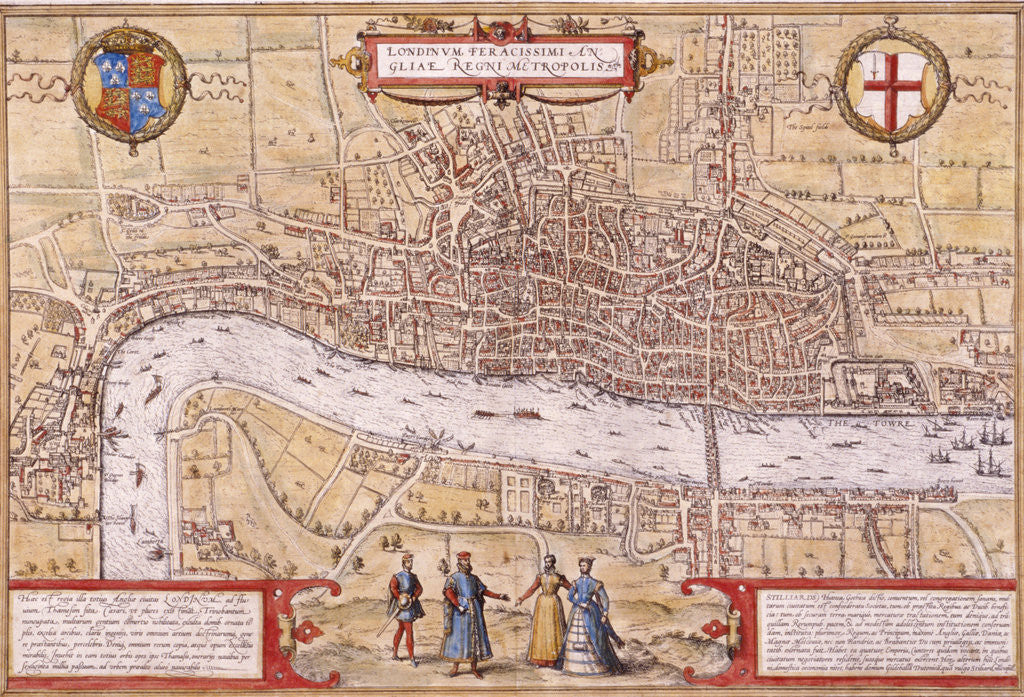 Detail of Map of the City of London, Southwark and part of Westminster by Franz Hogenberg