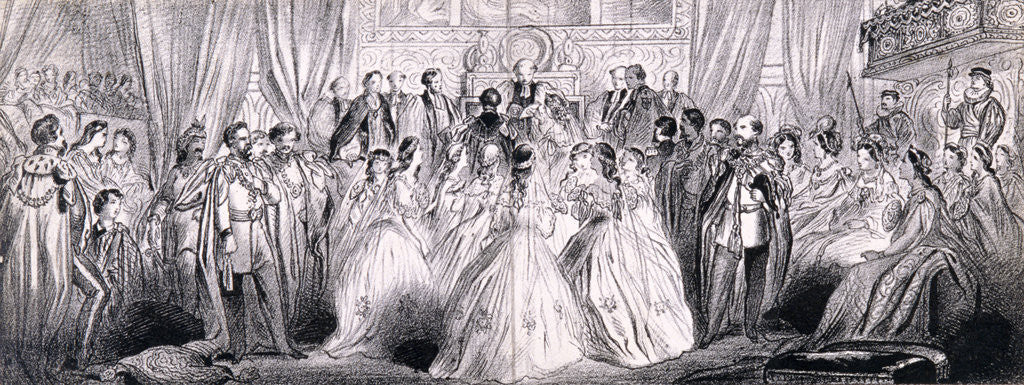 Detail of Wedding ceremony of Prince Edward and Princess Alexandra in St George's Chapel at Windsor Castle by Anonymous