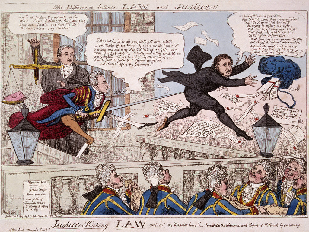 Detail of The difference between law and justice by Isaac Cruikshank
