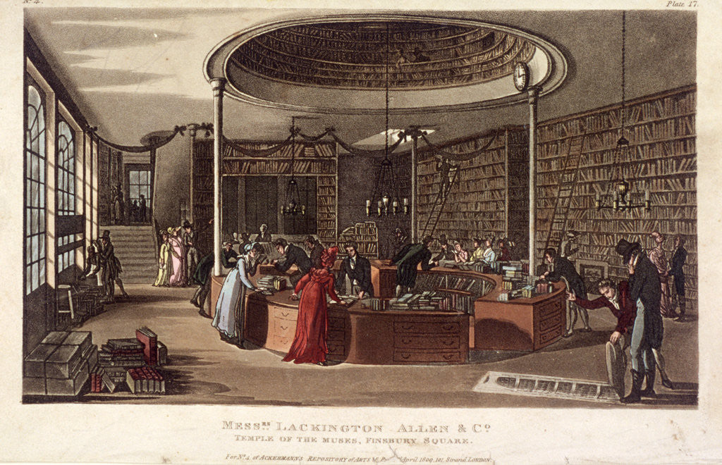 Detail of Interior view of the Temple of the Muses bookshop, Finsbury, London by Anonymous