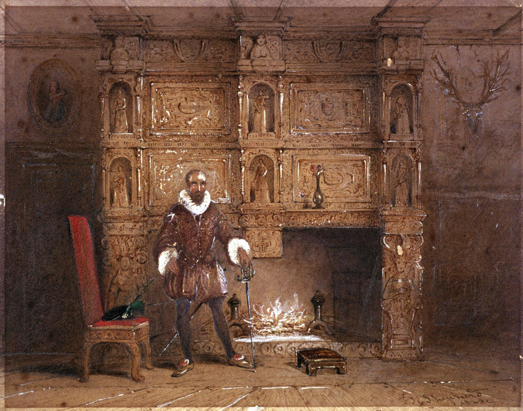 Detail of Possibly Sir John Spencer in Canonbury House; or Sir Walter Raleigh in the Old Pied Bull Inn by Thomas Hosmer Shepherd