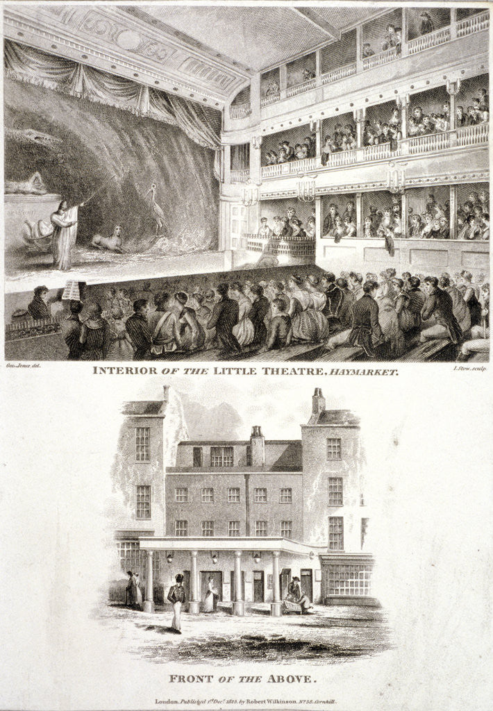 Detail of Interior and exterior views of the Haymarket Theatre, Westminster, London by