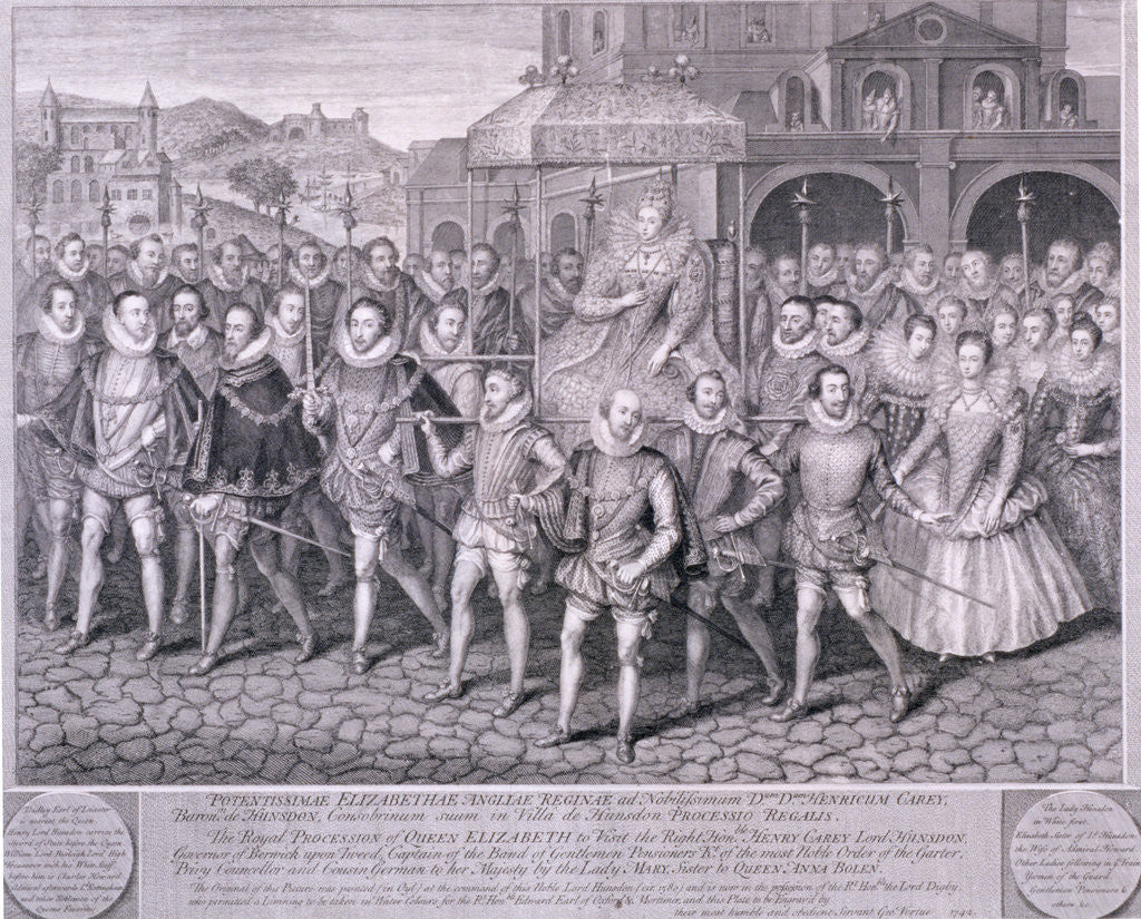 Detail of Procession of Queen Elizabeth I to Blackfriars, London, 16 June 1600 by George Vertue