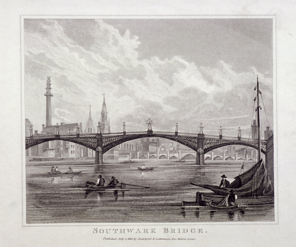 Detail of View of Southwark Bridge with boats on the Thames by Anonymous