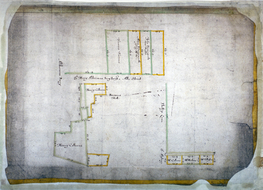 Detail of Plan of tenements in Addle Street, Aldermanbury and Philip Lane, London by Anonymous