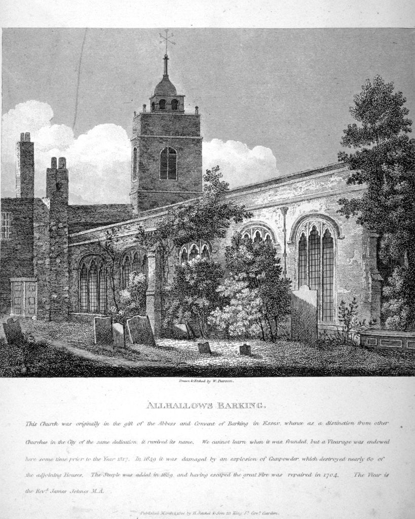 Detail of All Hallows-by-the-Tower Church, London by William Pearson