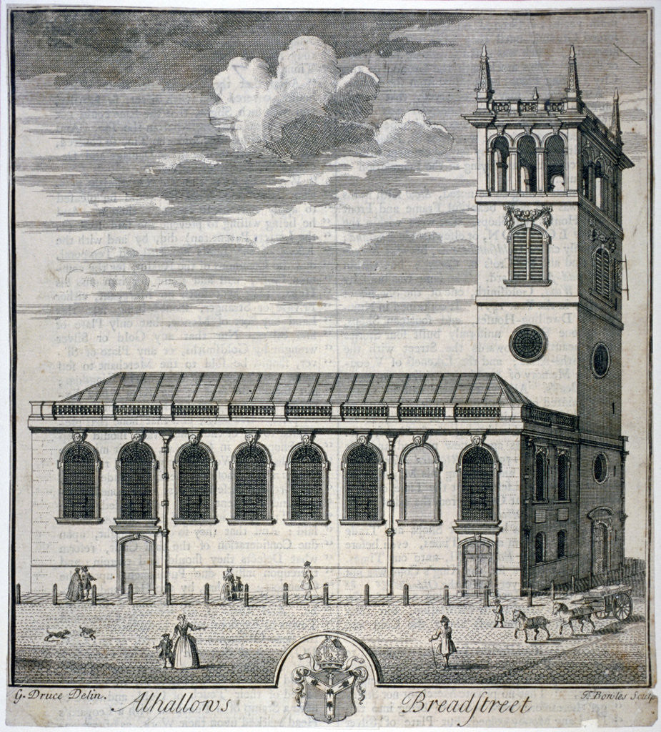 Detail of All Hallows Church, Bread Street, London by Thomas Bowles