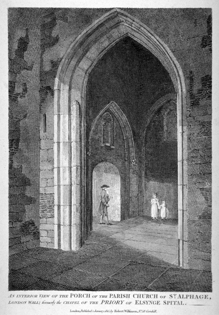 Detail of Interior view of the porch of the Church of St Alfege, London Wall, London by William Wise