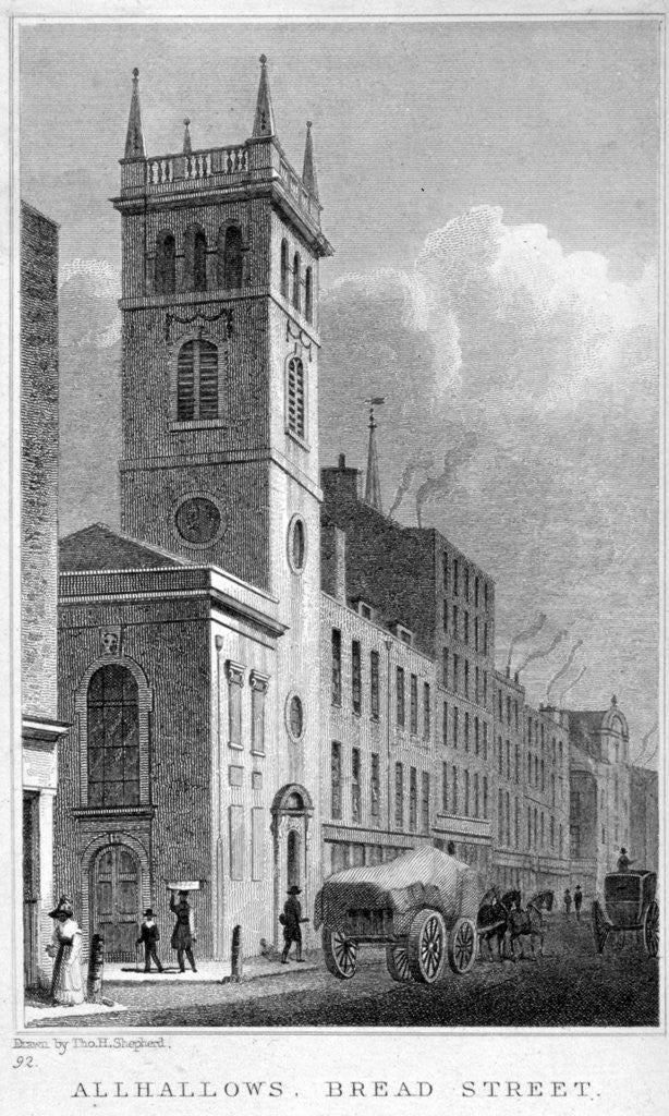 Detail of All Hallows Church, Bread Street, London by Thomas Hosmer Shepherd