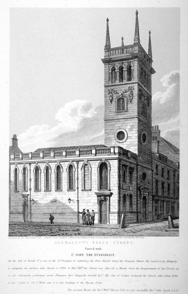Detail of All Hallows Church, Bread Street, London by Joseph Skelton