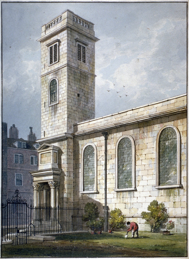 Detail of All Hallows Church, Lombard Street, London by