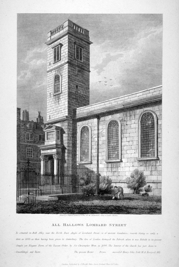 Detail of All Hallows Church, Lombard Street, London by William Wise
