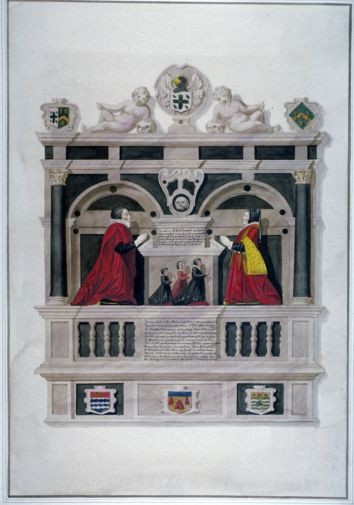 Detail of Monument in the Church of St Andrew Undershaft, Leadenhall Street, London, c1820 by Anonymous