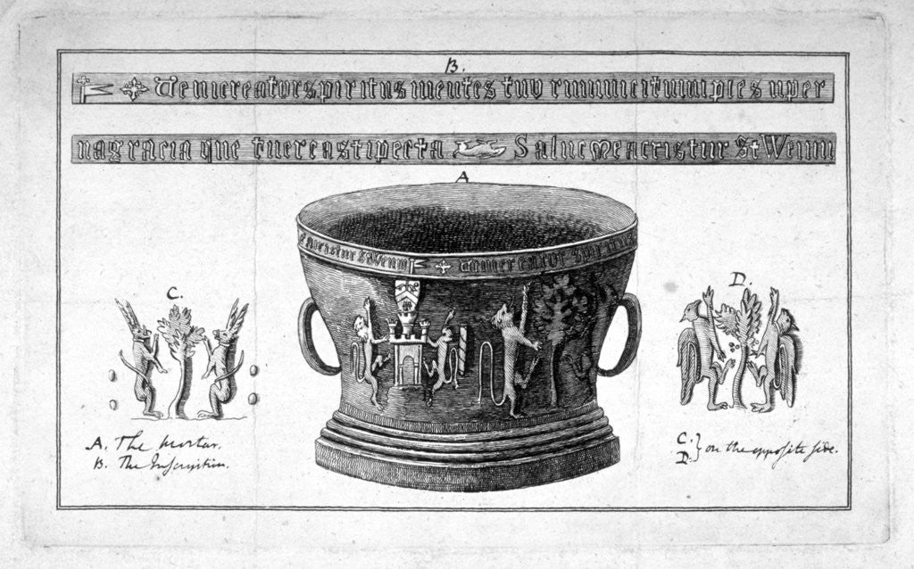 Detail of Depiction of a mortar from the Apothecaries' Hall, including inscription by