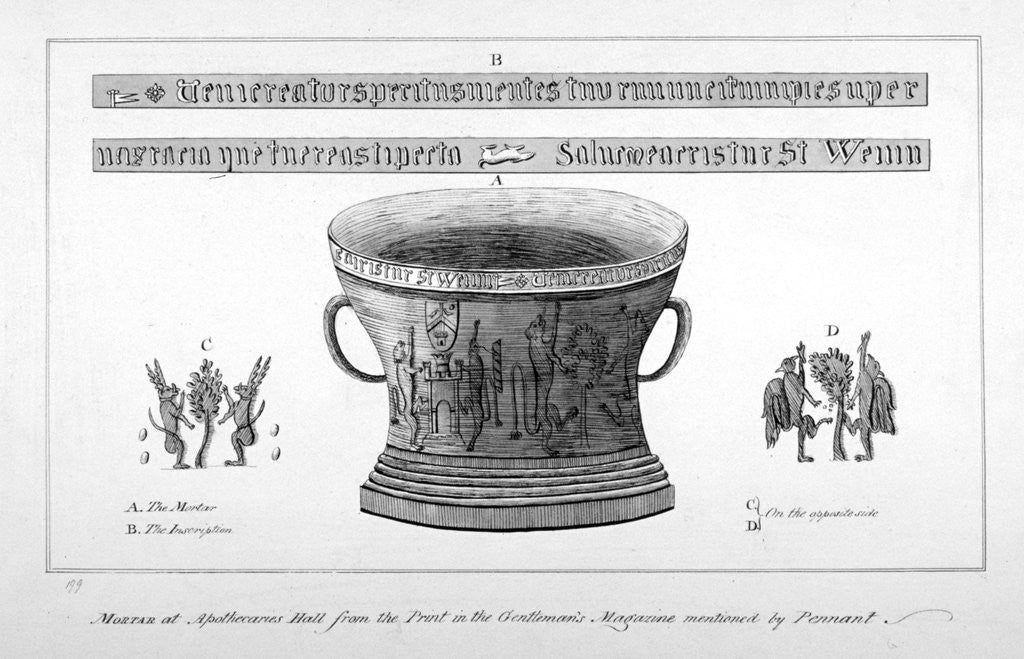 Detail of Depiction of a mortar from the Apothecaries' Hall, including inscription by Anonymous