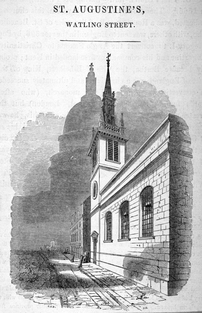 Detail of View of St Augstine, Watling Street, City of London by SW
