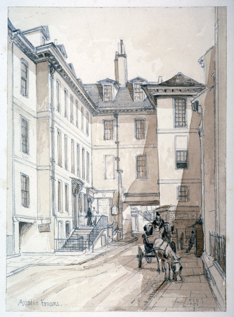Detail of Austin Friars Street, City of London by Thomas Colman Dibdin
