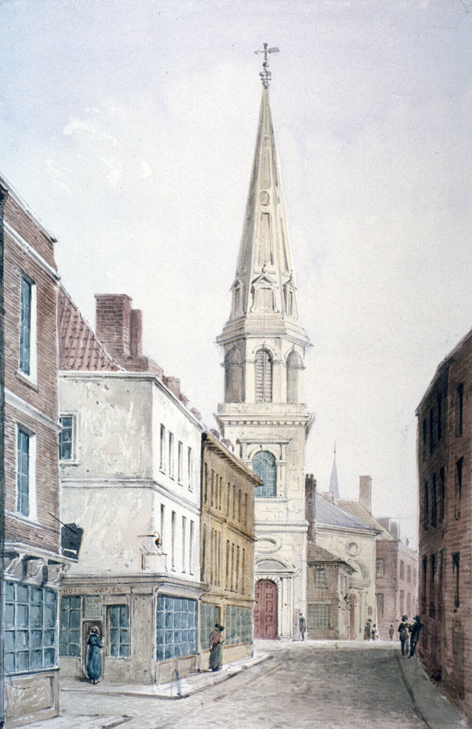 Detail of View of St Antholin from the west, City of London by