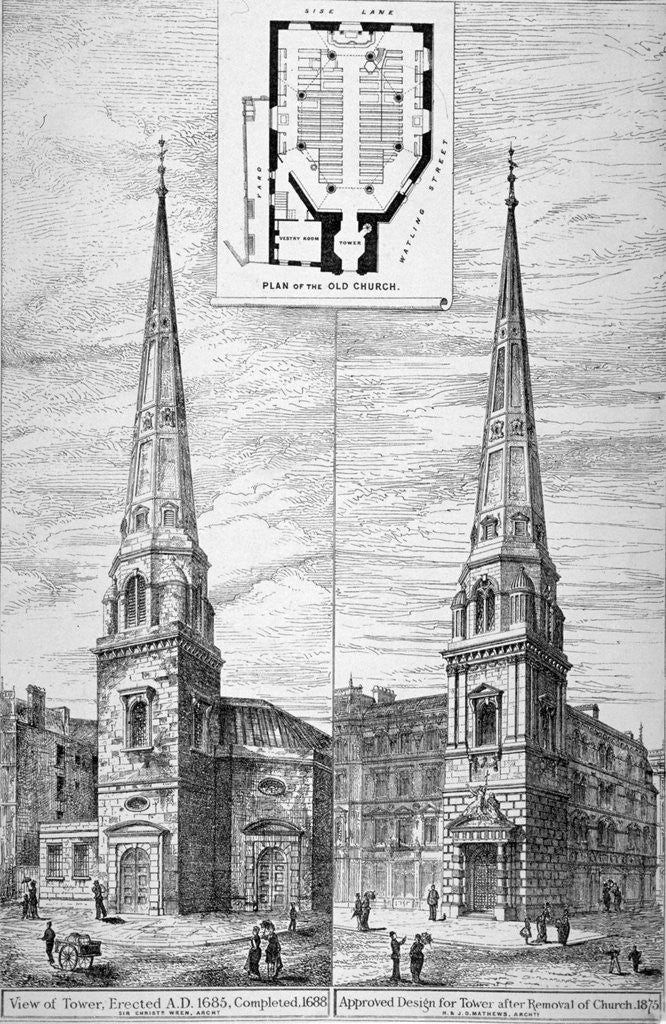 Detail of Two views of the tower of St Antholin, City of London by Anonymous