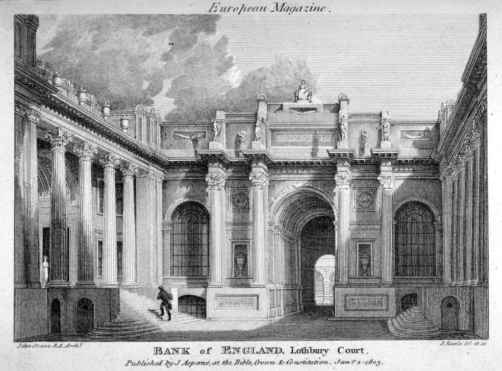 Detail of View of Lothbury Court, the Bank of England. City of London by