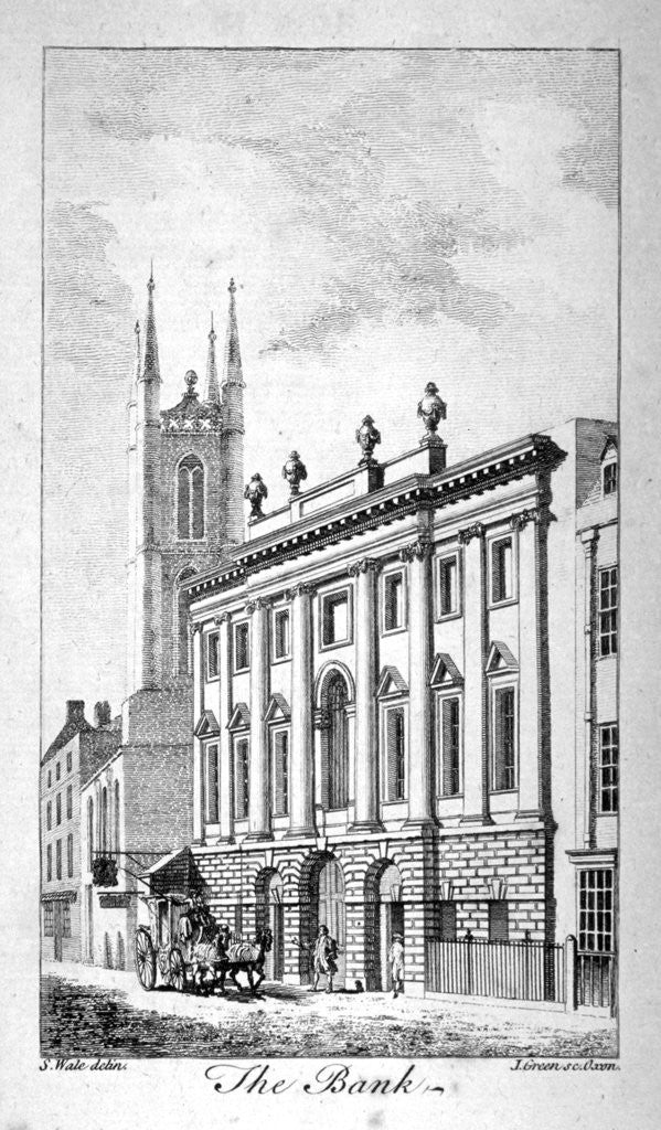 Detail of View of the Bank of England and St Christopher-le-Stocks by J Green