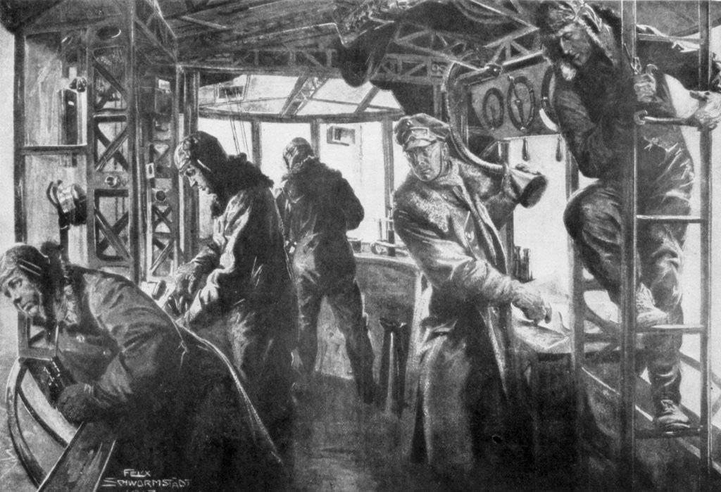 Detail of 'Command area on board a Zeppelin', German air fleet, First World War by Felix Schwormstadt