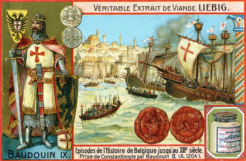 Detail of Episodes in the history of Belgium up until the 13th century: Baldwin I of Constantinople by Anonymous