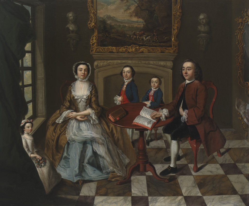 Detail of Portrait of a family in an interior, thought to be the Roubel family by Anonymous