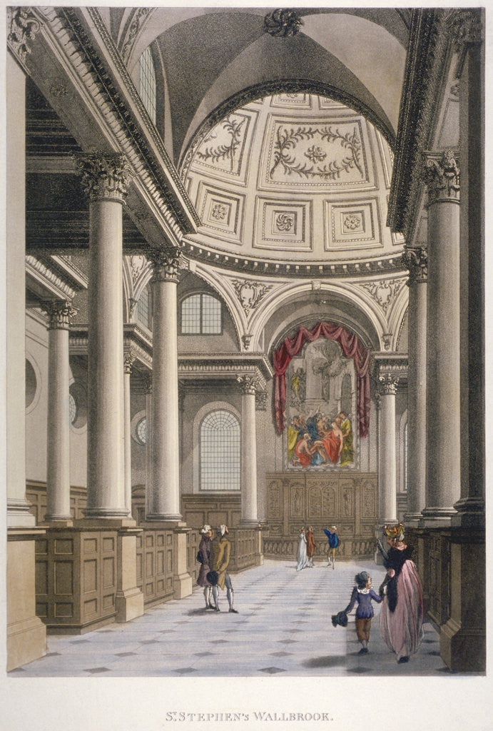 Detail of Interior of the Church of St Stephen Walbrook, City of London by