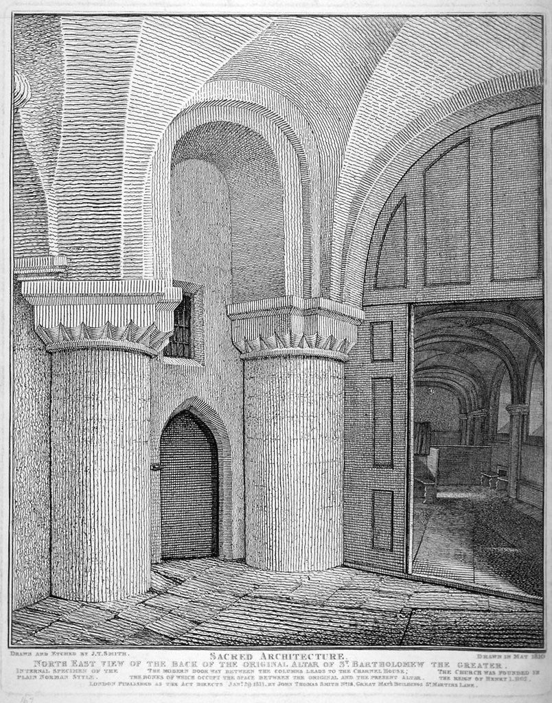 Detail of Interior view of the Church of St Bartholomew-the-Great, Smithfield, City of London by John Thomas Smith