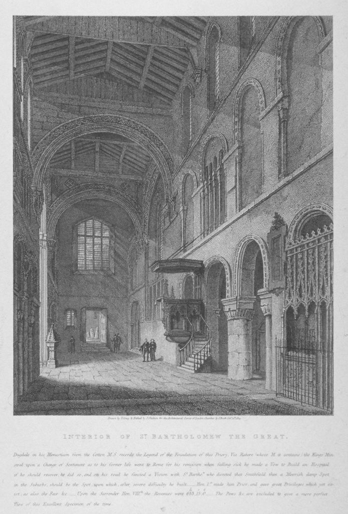 Detail of Interior view of the Church of St Bartholomew-the-Great, Smithfield, City of London by