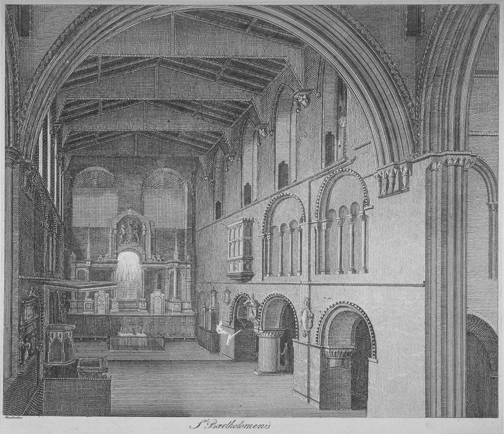 Detail of Interior view of the Church of St Bartholomew-the-Great, Smithfield, City of London by James Peller Malcolm